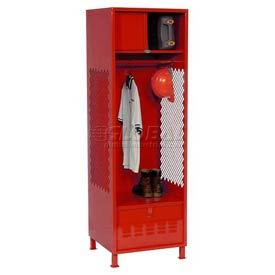 Pucel All Welded Gear Locker With Foot Locker Top Shelf Cabinet And Legs 24x18x72 Red