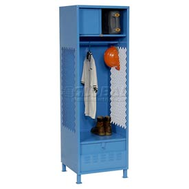 Pucel All Welded Gear Locker With Foot Locker Top Shelf Cabinet And Legs 24x18x72 Blue