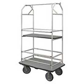 Glaro Bellman Condo Cart 40x25 Satin Aluminim Gray Carpet, 4 Rubber Wheels