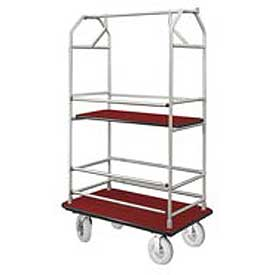Glaro Bellman Condo Cart 40x25 Satin Aluminim Burgundy Carpet, 4 Pneumatic Wheels
