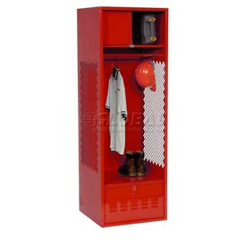 Pucel All Welded Gear Locker With Foot Locker Top Shelf Cabinet 24x24x72 Red