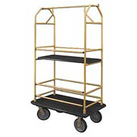 Glaro Bellman Condo Cart 40x25 Satin Brass Black Carpet, 4 Rubber Wheels
