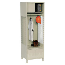 Pucel All Welded Gear Locker With Foot Locker Top Shelf Cabinet & Legs 24x24x72 Putty
