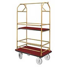 Glaro Bellman Condo Cart 40x25 Satin Brass Burgundy Carpet, 4 Pneumatic Wheels
