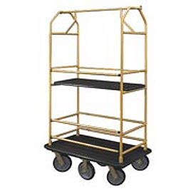 Glaro Bellman Condo Cart 48x25 Satin Brass Black Carpet, 6 Rubber Wheels