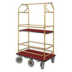 Glaro Bellman Condo Cart 48x25 Satin Brass Burgundy Carpet, 6 Pneumatic Wheels