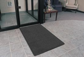"Rubber Backed Barrier Rib Entrance Mat 3'X10' 3/8"" Thick Charcoal"