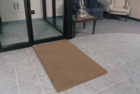 "Rubber Backed Barrier Rib Entrance Mat 3'X10' 3/8"" Thick Brown"
