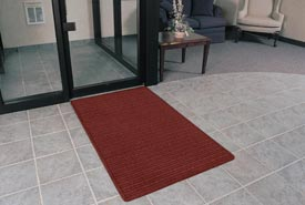 "Rubber Backed Barrier Rib Entrance Mat 3'X10' 3/8"" Thick Red/Black"