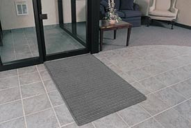"Rubber Backed Barrier Rib Entrance Mat 4'X10' 3/8"" Thick Gray"