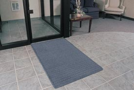 """Rubber Backed Barrier Rib Entrance Mat 4'X10' 3/8"""" Thick Slate Blue"""