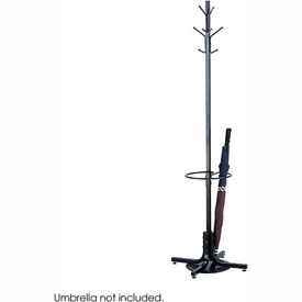 Coat Tree With Umbrella Stand -- Black