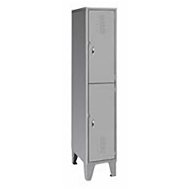 Pucel Extra Wide Welded Steel Lockers Double Tier 18x18x72 Gray
