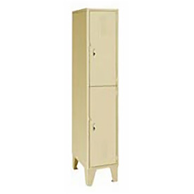 Pucel Extra Wide Welded Steel Lockers Double Tier 18x18x72 Putty