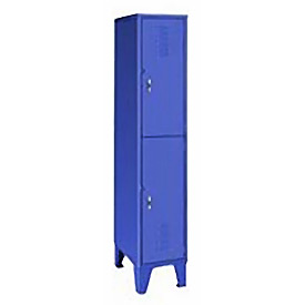 Pucel Extra Wide Welded Steel Lockers Double Tier 18x18x72 Blue