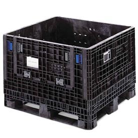ORBIS BulkPak GP4048-34 Folding Bulk Shipping Container 48 x 40 x 34 2000 lb Capacity Black