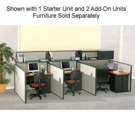 "Pre-Configured Call Center Starter, 60""W x 48""D, Gray"