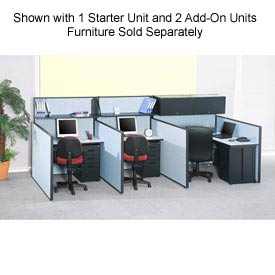 "Interion™ Pre-Configured Call Center Add-On, 60""W x 48""D, Blue"