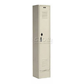 Extra Wide Single Tier Locker 15x18x72 1 Door Pull Latch Ready to Assemble Tan