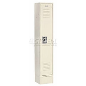 Extra Wide Single Tier Locker 15x18x72 1 Door Recessed Ready to Assemble Tan