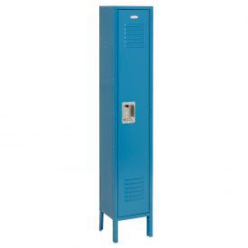 Extra Wide Single Tier Locker 15x18x72 1 Door Recessed Ready to Assemble Blue