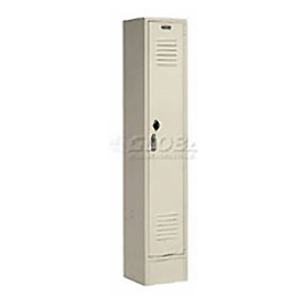 Extra Wide Single Tier Locker 15x18x72 1 Door Pull Latch Assembled Tan