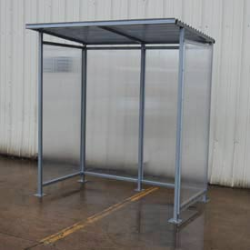 "Bus Smoking Shelter Flat Roof With Three Sided Open Front 76-1/4""W x 49-5/16""D x 83-9/16""H"