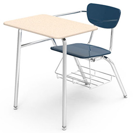 Virco® 3400br Martest Chair Desk - Full Top, Navy Seat/Sandstone Top - Pkg Qty 2