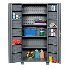 "Jamco Bin Cabinet GR236KZ - 14 Gauge Welded with Louvered Panels, Shelves, Deep Door, 36""x 24""x78"""