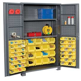 "Jamco Bin Cabinet GR248KJ - 14 Gauge Welded with 84 Bins And Shelves Deep Door, 48""x24""x78"""