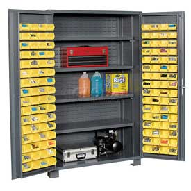 "Jamco Bin Cabinet GR248KG - 14 Gauge Welded with 128 Bins And Shelves Deep Door,48""W x 24""D x 78""H"