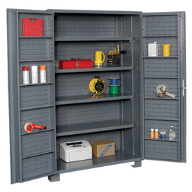 "Jamco Bin Cabinet GR248KR - 14 Gauge Welded with Louvered Panels And Shelves Deep Door, 48"" W"