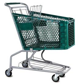 VersaCart® Green Plastic Shopping Cart 3.5 Cu. Foot Capacity 102-085-DGN-BH