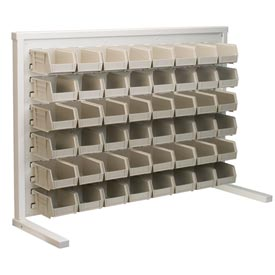 Akro-Mils Ready Space Single Sided Bench Rack 98536220SS With 48 Beige AkroBins 30220