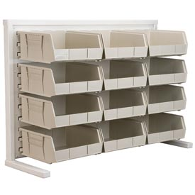 Akro-Mils Ready Space Single Sided Bench Rack 98536235SS With 12 Beige AkroBins 30235