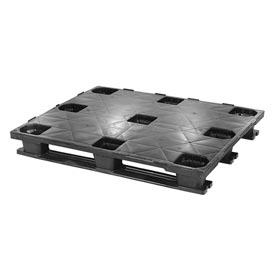 Closed Deck Rackable Plastic Pallet With 3 Bottom Skids 48x40, 4100 Lbs Cap - Pkg Qty 4