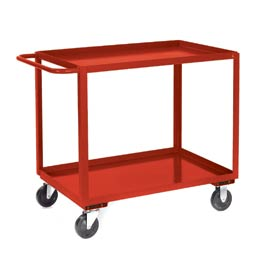 Jamco Red All Welded 2 Shelf Stock Cart SB124 24x18 1200 Lb. Cap.