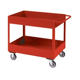 "Jamco Red All Welded 6"" Deep Shelf Cart LS248 2400 Lb. Cap. 48x24"
