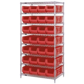 "Quantum WR8-950 Chrome wire Shelving With 28 24""D Hopper Bins Red, 24x36x74"