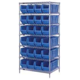 "Quantum WR7-951 Chrome wire Shelving With 24 24""D Hopper Bins Blue, 24x36x74"