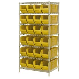 "Quantum WR7-951 Chrome wire Shelving With 24 24""D Hopper Bins Yellow, 24x36x74"