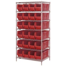 """Quantum WR7-951 Chrome wire Shelving With 24 24""""D Hopper Bins Red, 24x36x74"""