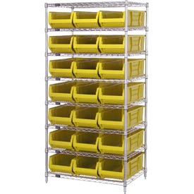 "Quantum WR8-952 Chrome wire Shelving With 21 24""D Hopper Bins Yellow, 24x36x74"