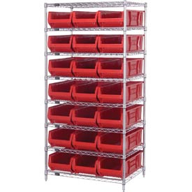 "Quantum WR8-952 Chrome wire Shelving With 21 24""D Hopper Bins Red, 24x36x74"