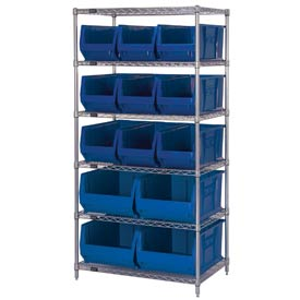 "Quantum WR6-973974 Chrome wire Shelving With 13 30""D Hopper Bins Blue, 30x36x74"