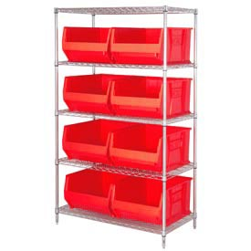 "Quantum WR5-975 Chrome wire Shelving With 8 30""D Hopper Bins Red, 30x42x74"