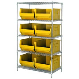 "Quantum WR5-997 Chrome Wire Shelving With 8 36""D Hopper Bins Yellow, 36x48x86"