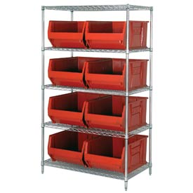 "Quantum WR5-997 Chrome Wire Shelving With 8 36""D Hopper Bins Red, 36x48x86"