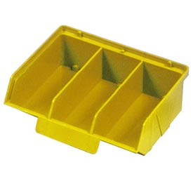 "Quantum Plastic Stack And Lock Bin QCS320 with ID Tab-3 Compartments 8-7/8""W x 7""D x 2-7/8""H Yellow - Pkg Qty 24"