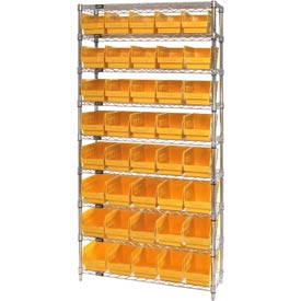 "Quantum WR9-202 Chrome Wire Shelving with 40 6""H Plastic Shelf Bins Yellow, 36x12x74"
